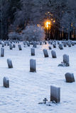 Woodland Cemetery in Stockholm, Sweden. During winter with sun and graves Stock Image