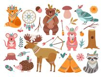 Free Woodland Cute Animal. Tribal Fox, Forest Adventure Child Animals. Little Bear Brave Deer, Feather Arrow For Baby Nursery Royalty Free Stock Image - 198706416