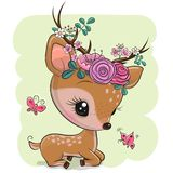 Woodland Deer with flowers and butterflies on a green background royalty free stock photos