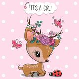 Woodland Deer with flowers and butterflies on a pink background stock photo