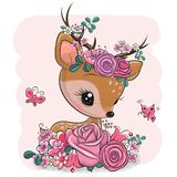 Woodland Deer with flowers and butterflies on a pink background royalty free stock photography