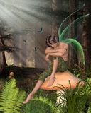 Woodland Fairy Boy Sitting on a Toadstool. Fairy Boy with green gossamer wings sitting on a toadstool in a woodland glade half-asleep, 3d digitally rendered Stock Image