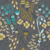 Woodland Floral Pattern. A seamless floral woodland pattern in earthy tones with mushrooms, acorns, fireflies, and flowers Stock Photo