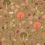 Woodland forest seamless pattern design royalty free illustration