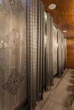 Woodland hotel - curtains stock photos