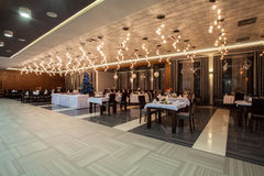 Woodland hotel - Hotel dining room. Woodland hotel - Dining room in new luxurious hotel Stock Image