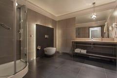 Woodland hotel - bathroom. Woodland hotel - modern bathroom with a shower Stock Photos