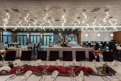 Woodland hotel - Restaurant interior. Woodland hotel - Interior of elegant restaurant in a hotel Stock Photos