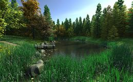 Woodland Lake with Jetty Stock Images