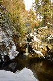 Woodland Landscape - A view of the Falls of Bruar in Perthshire. A view of the falls of Bruar in rural Perthshire during winter Stock Image