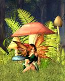 Woodland Mushroom Fairy with forest background. 3d Digitally rendered image of a pretty fairy sitting by woodland mushrooms or toadstools and ferns in a sunny Royalty Free Stock Images