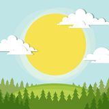 Woodland scene. The sun shines on a clearing in the forest Stock Images