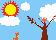 Woodland scrapbook. Illustration with bright orange and yellow sun, puffy white clouds, fox, and owl Stock Photo