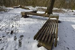 Woodland Seat in Snow. Charterhouse, Mendip Hills Stock Image