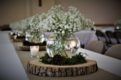 Woodland Table Centerpieces Lined Up On Burlap Runner royalty free stock images