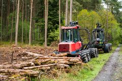 Woodland Tree Cutting Operations and felling. Commercial woodland tree cutting and felling operations, forestry equipment tractors on a track with a cleared area stock photo