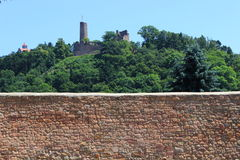 Woodland with two castles. Forest behind a stonewall with two castles in weinheim Stock Photos