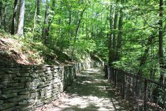Watkins Glen State Park Indian Trail. Woodland walking trail along the top of the gorge. Finger Lakes region of New York State stock photo