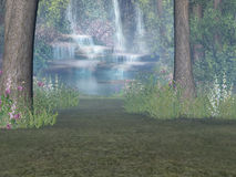 Woodland Waterfall. Dreamy woodland waterfall render Royalty Free Stock Photo