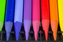 Woodless Colored Pencil Heads Macro Closeup Stock Image
