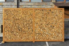 Woodlog wall Stock Images