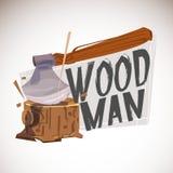 Woodman Carpenter logo design - vector. Woodman Carpenter logo design. lumberjack concept - vector illustration royalty free illustration