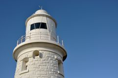 Woodman Point Lighthouse: White in the Blue royalty free stock photo