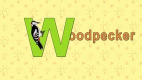 woodpecker Alfabeto inglés del PARQUE ZOOLÓGICO - letra W stock de ilustración