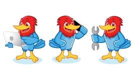 Woodpecker Mascot wit laptop Royalty Free Stock Photo