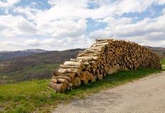 Woodpile σε μια ηλιόλουστη ημέρα κοντά σε έναν δρόμο στους λόφους Στοκ Εικόνα
