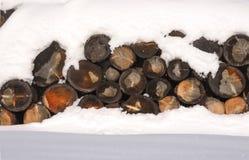 Woodpile журналов в снеге в зиме сельская зима места HDR Стоковые Фото
