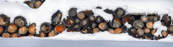 Woodpile журналов в снеге в зиме сельская зима места HDR Стоковая Фотография RF