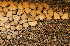 Woodpile. A large stack of freshly chopped wood of all sizes lies on the side of a path Stock Image