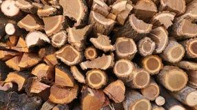 火灰色光记录woodpile的木头 库存图片