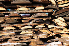 Woodpile. Background of stacked firewood in woodpile powdered white snow Royalty Free Stock Photos