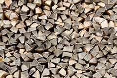 The woodpile of brich firewood Stock Photography