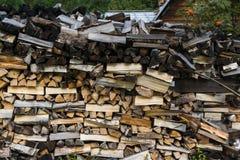 Woodpile closeup. Closeup shot of woodpile in Ust-Kaspa village. Eastern Sayan, Siberia, Krasnoyarsk region, Russia royalty free stock photography