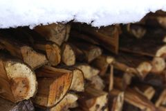 Woodpile covered with snow. In cold winter weather Stock Photography