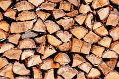Woodpile from dry oak logs Stock Image