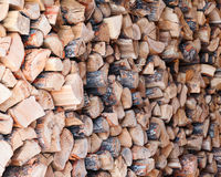 Woodpile from dry oak logs. Stock Image