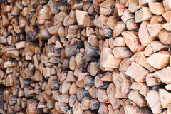 Woodpile from dry oak logs. Stock Photo