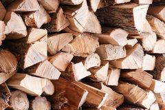 Woodpile from dry oak logs. Royalty Free Stock Image
