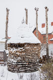 Woodpile with fire wood Royalty Free Stock Images