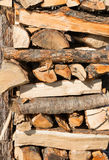 Woodpile. Firewood or woodpile of birch wood stock images