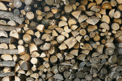 Woodpile. Firewood in the Bulgarian village in the mountains in autumn Stock Photos