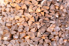 Woodpile. Firewood stacked in a  Birch wood at close range stock photo