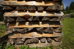 Woodpile. In a forest in the Alps royalty free stock photo