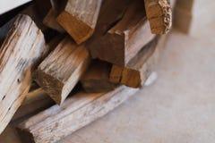 Woodpile near chimney Royalty Free Stock Image