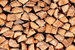 Woodpile from oak logs Stock Images