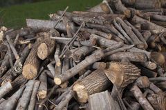 Woodpile. Sawed pieces of wood in a pile randomly Stock Images